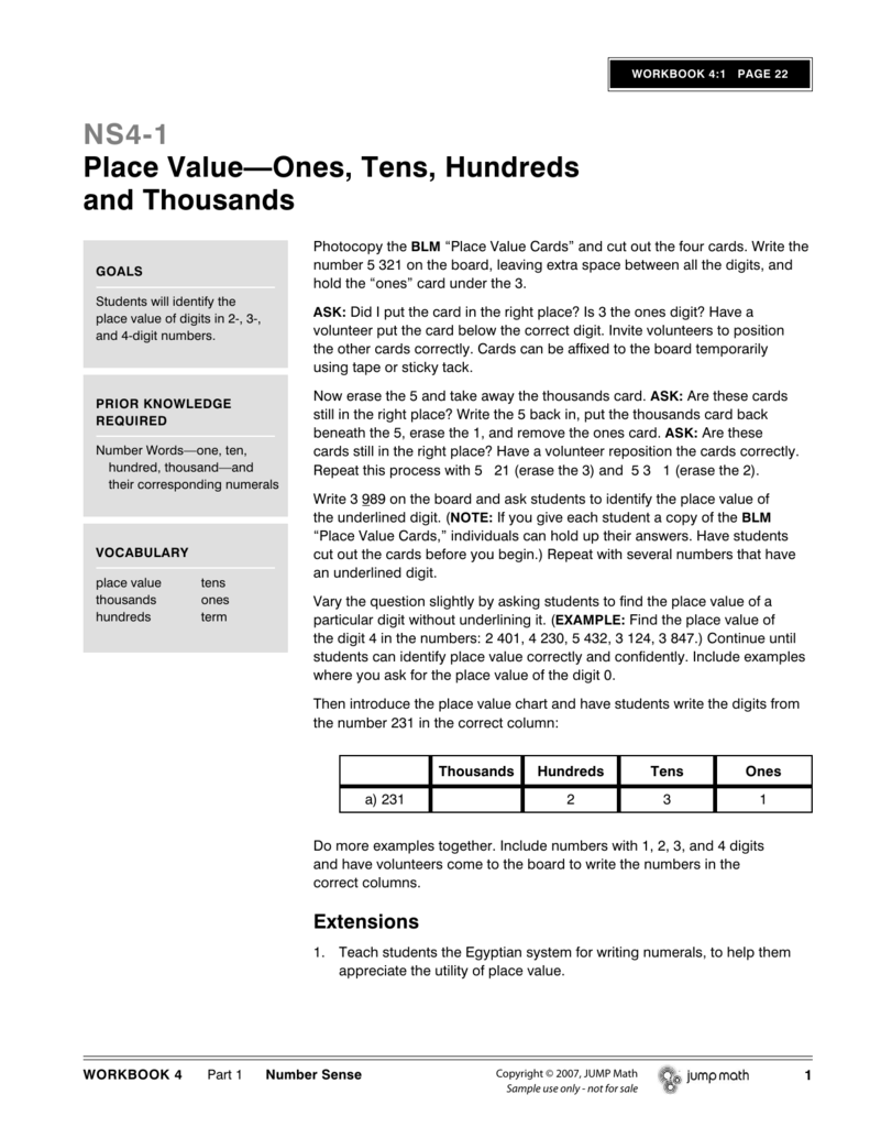 NS4-1 Place Value—Ones, Tens, Hundreds and Thousands
