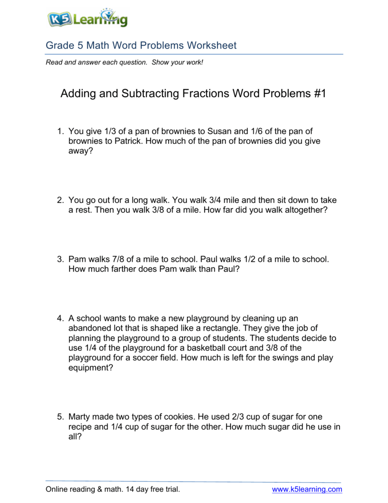 Adding and Subtracting Fractions Word Problems #1