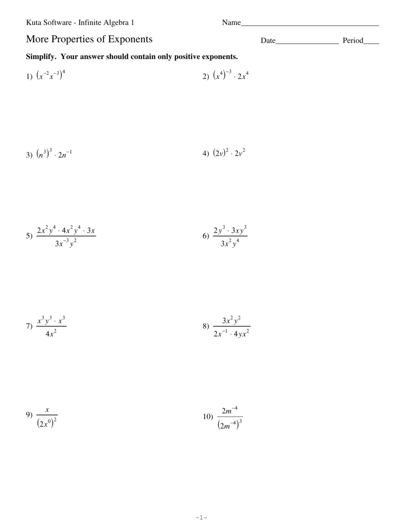 More Properties Of Exponents Worksheet Delibertad – Properties of Exponents Worksheet