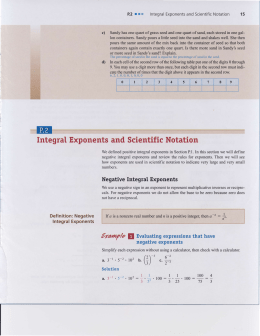 Integral Exponents and Scientific Notation