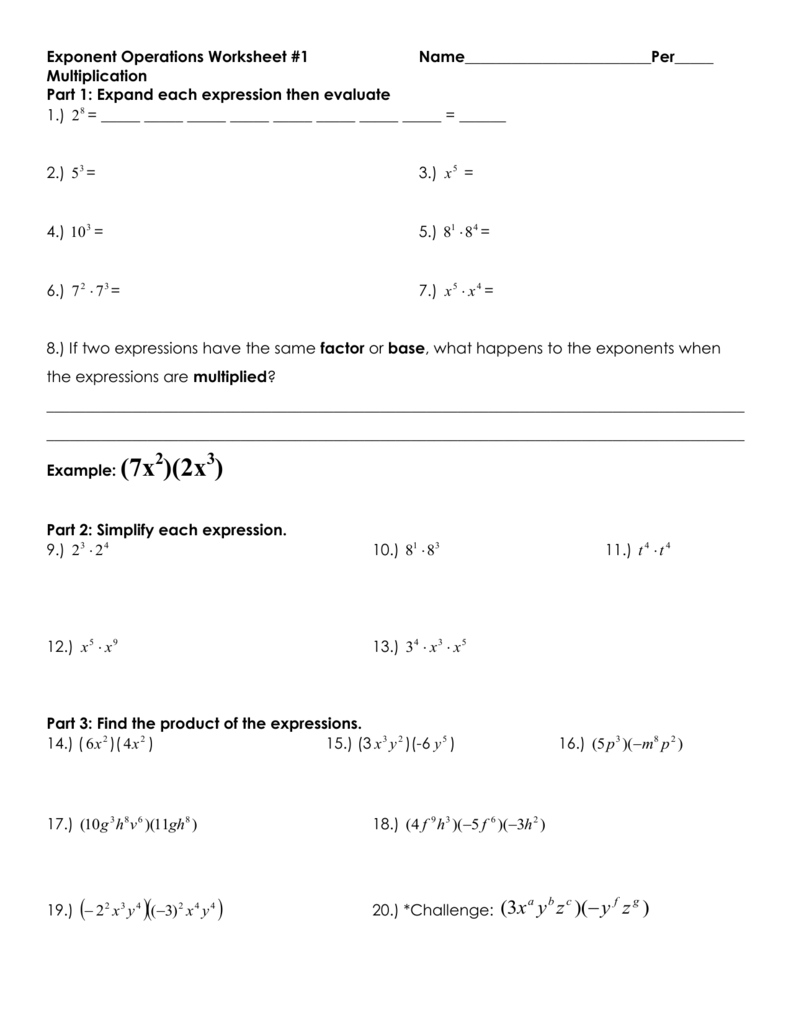 Exponent Operations Worksheet 1