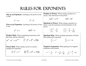 RULES FOR ExPONENTS - Tri-County Technical College