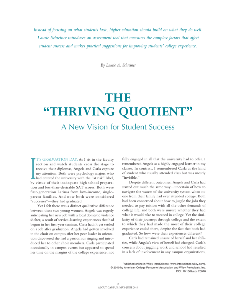 The thriving quotient