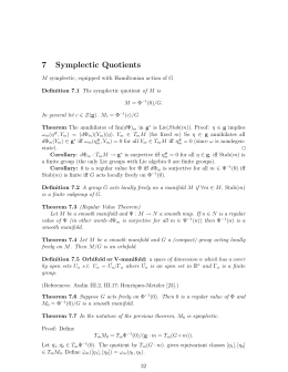 7 Symplectic Quotients