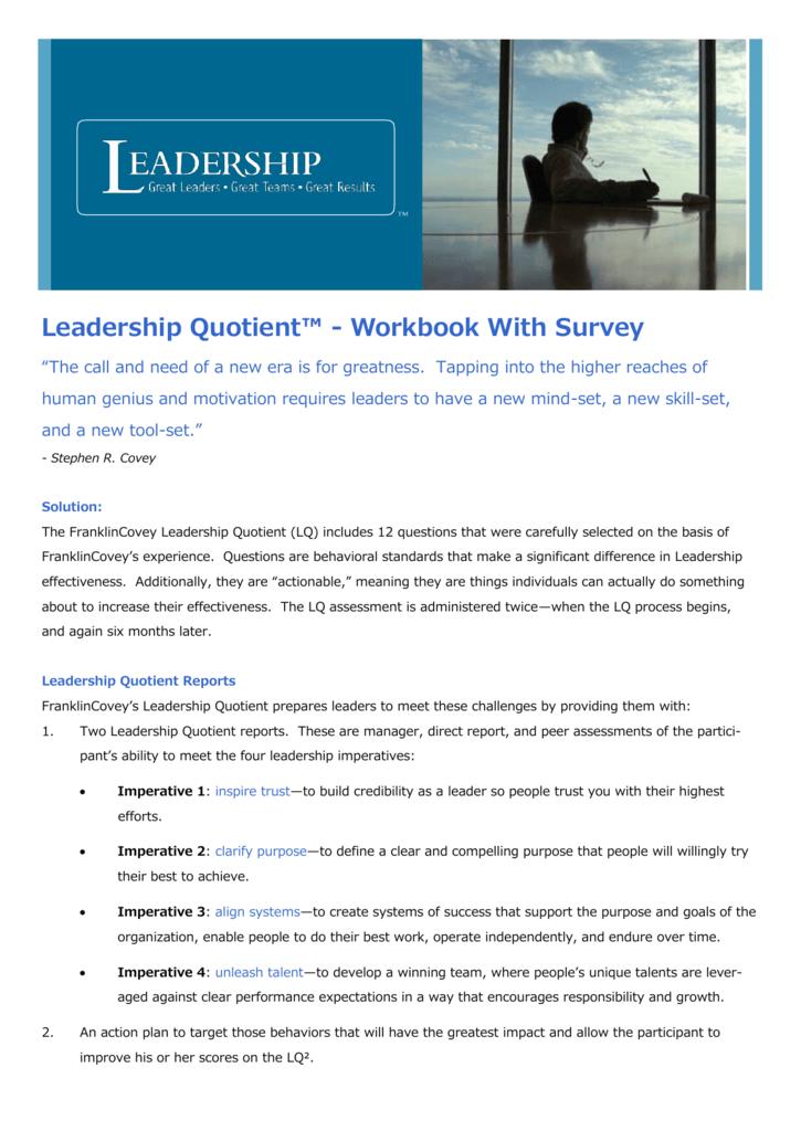 Leadership Quotient Workbook With Survey
