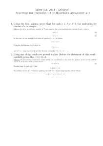 Math 554- 703 I - Analysis I Solutions for Problems 1