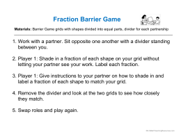 Fraction Barrier Game - K-5MathTeachingResources.com