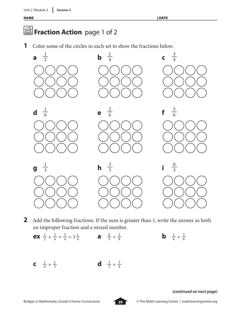 Fraction Action page 1 of 2 a b c d e f g h i ex 1 a 0 b 1 ...