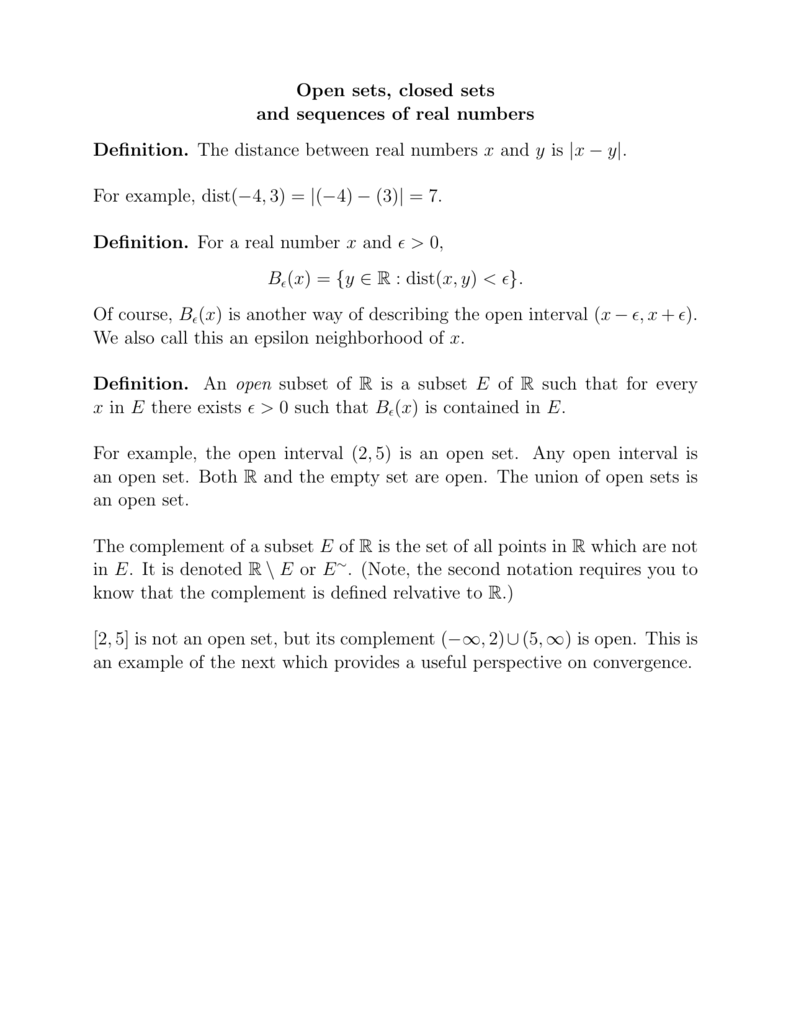 Open sets, closed sets and sequences of real numbers Definition