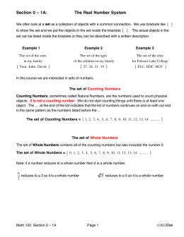 Section 0-1A: The Real Number System Lecture