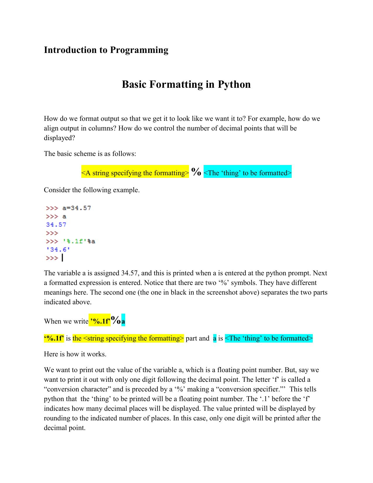 Basic Formatting in Python
