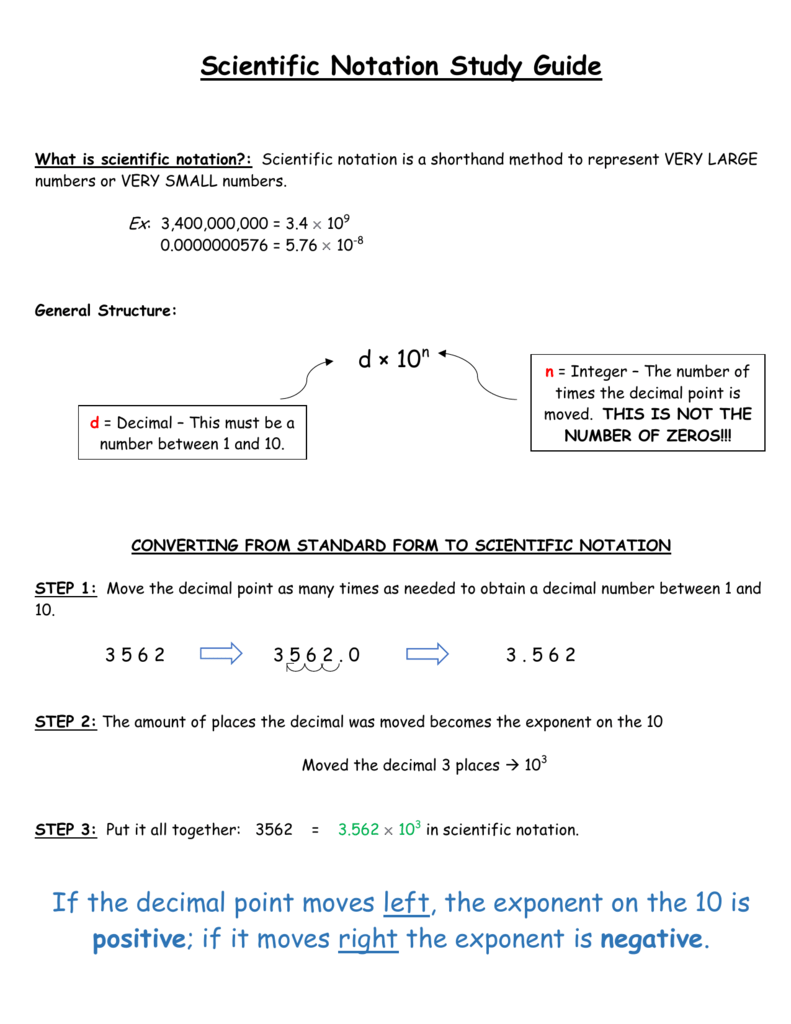 Scientific notation study guide if the decimal point moves left the falaconquin