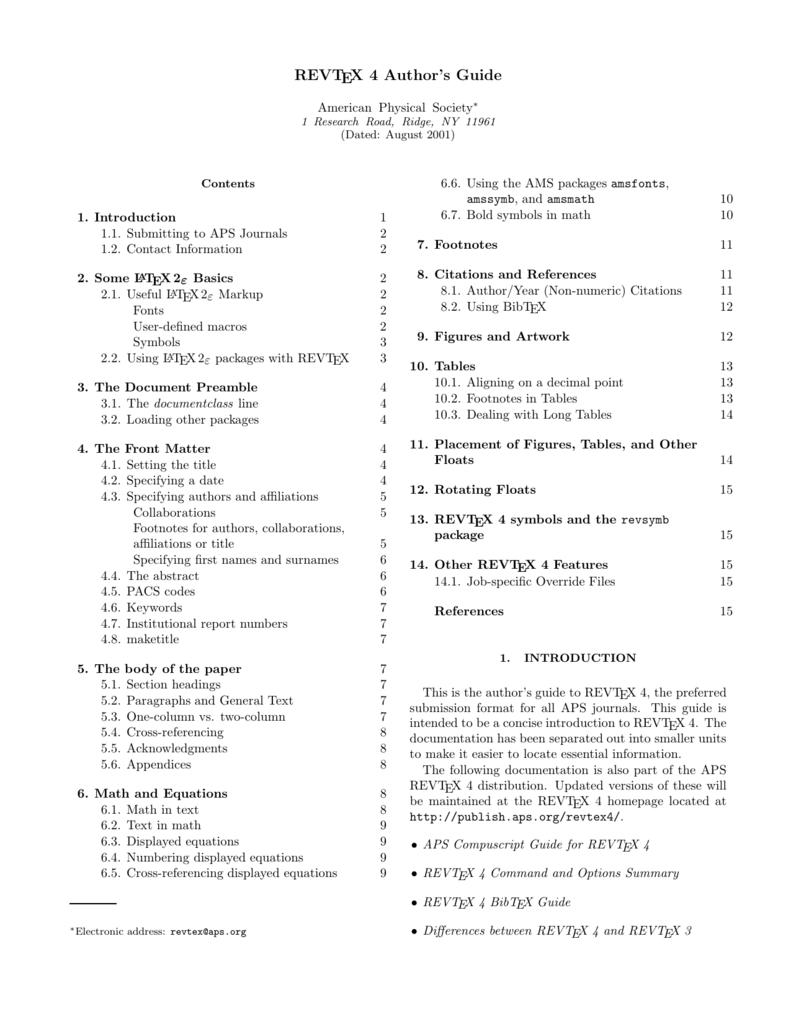 Revtex 4 Authors Guide