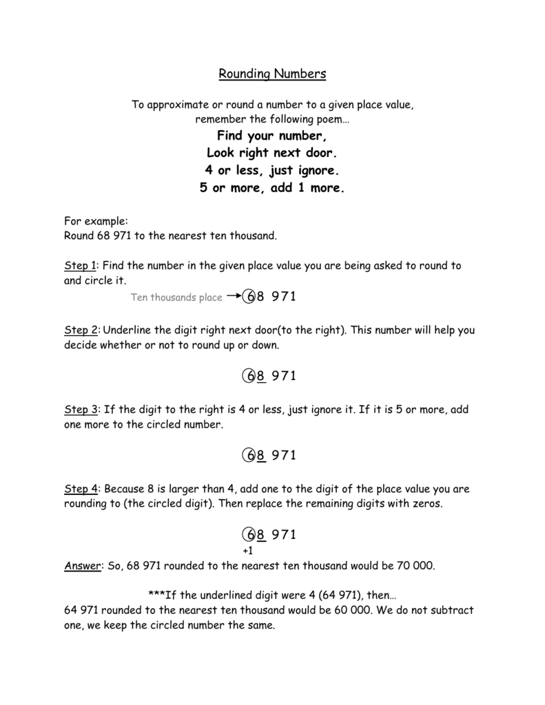 Worksheet Round To The Place Value Of The Underlined Digit rounding numbers find your number look right next door 4 or
