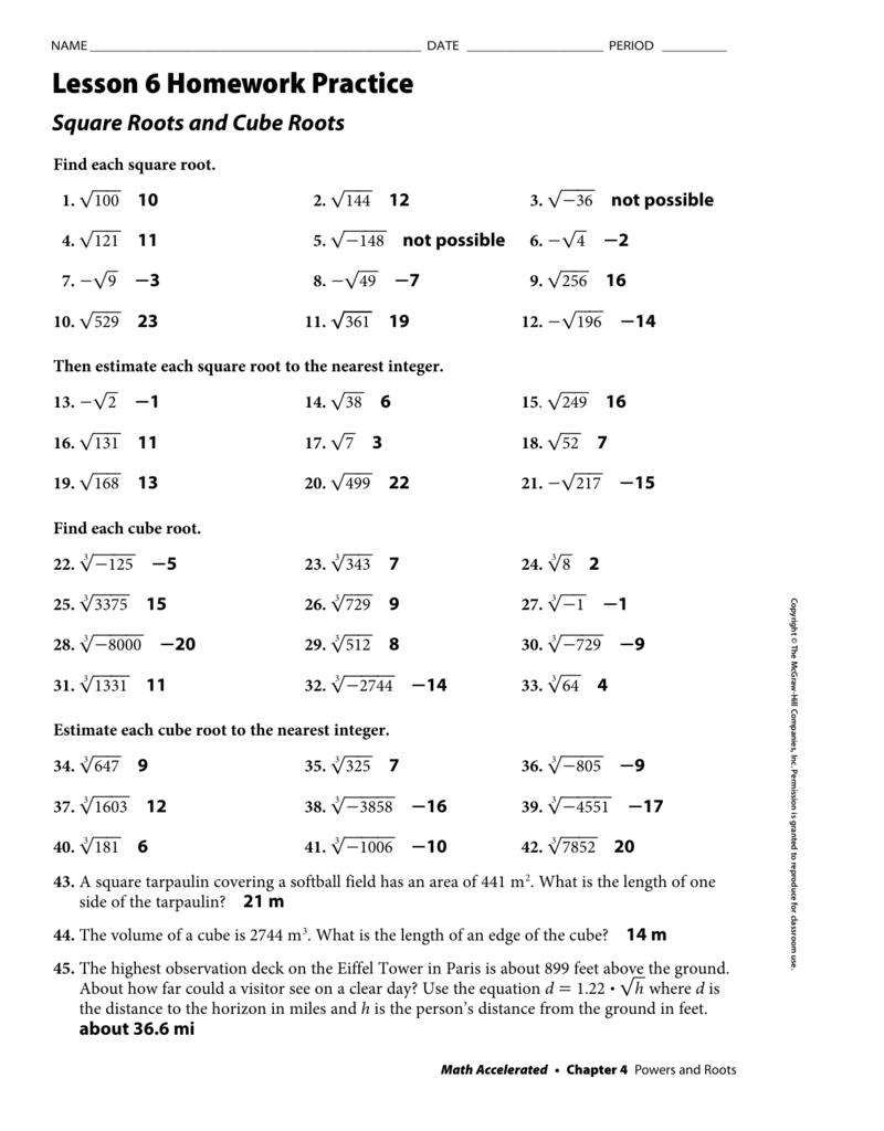 Lesson 6 Homework Practice