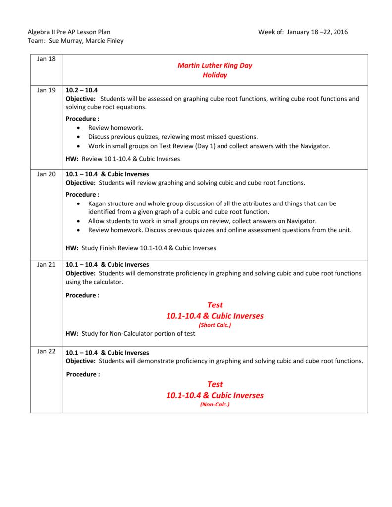 Website 18 Algebra II PreAP Assignments - week of