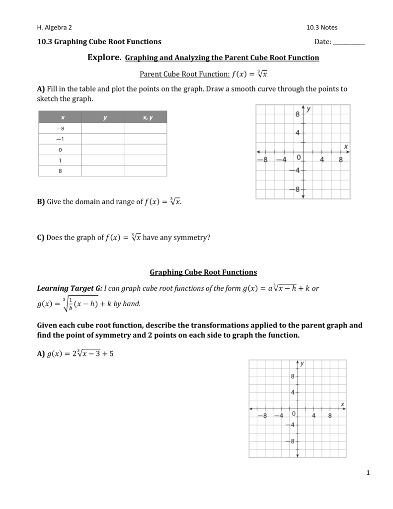 10 3 Graphing Cube Root Functions
