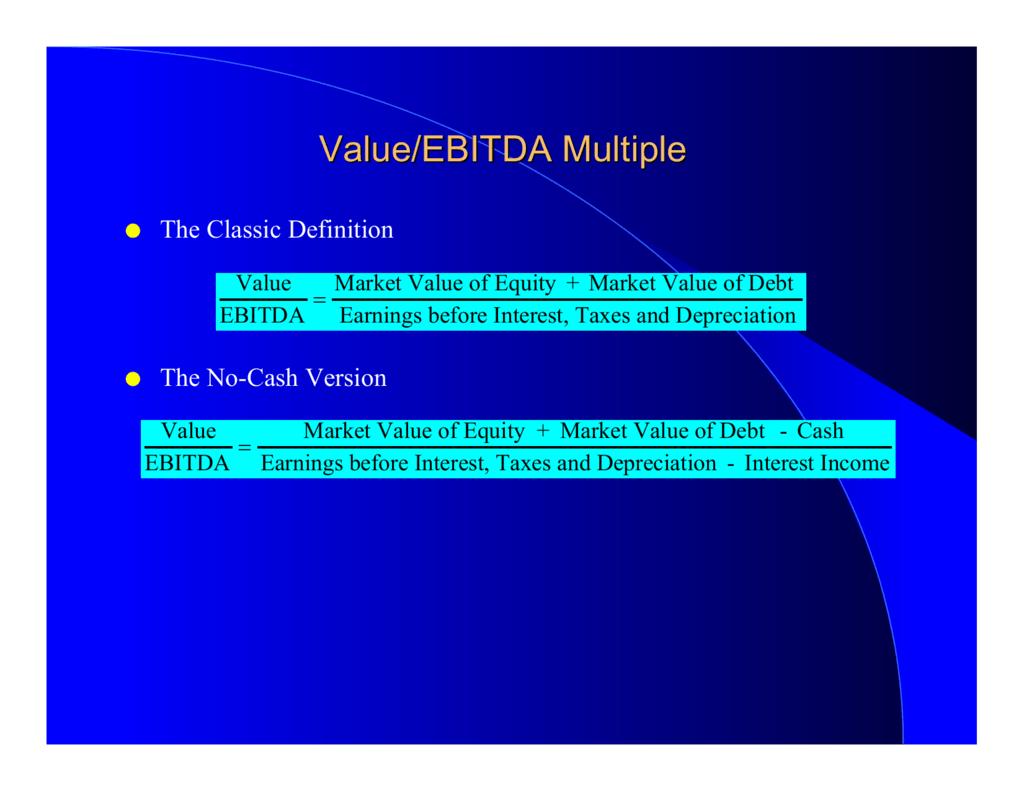 Value Ebitda Multiple Nyu Stern School Of Business