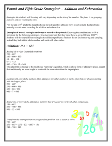 Fourth and Fifth Grade Strategies* – Addition and Subtraction