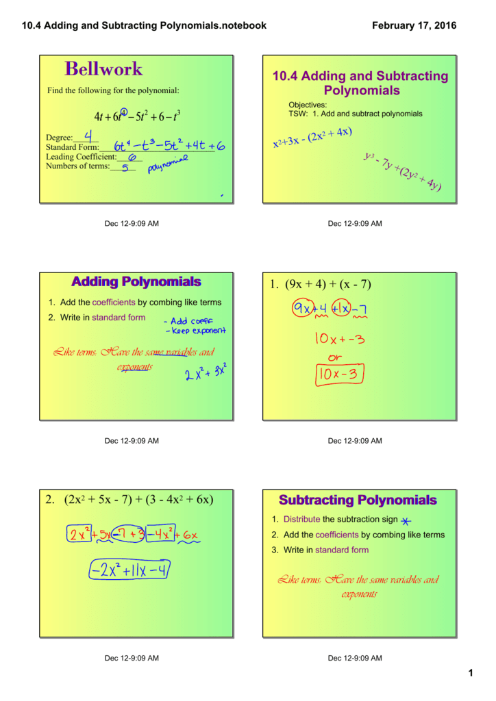 104 Adding And Subtracting Polynomialstebook