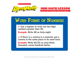 Word Forms oF Numbers