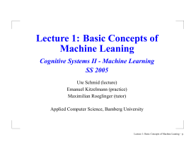 Lecture 1: Basic Concepts of Machine Leaning