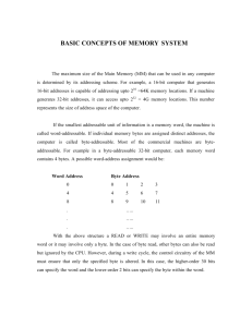 BASIC CONCEPTS OF MEMORY SYSTEM
