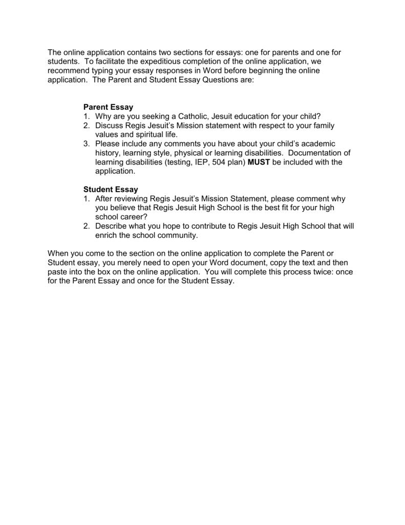 Regis admission essay