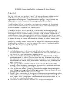 Essay Assignment #1: Writing an Exploratory essay