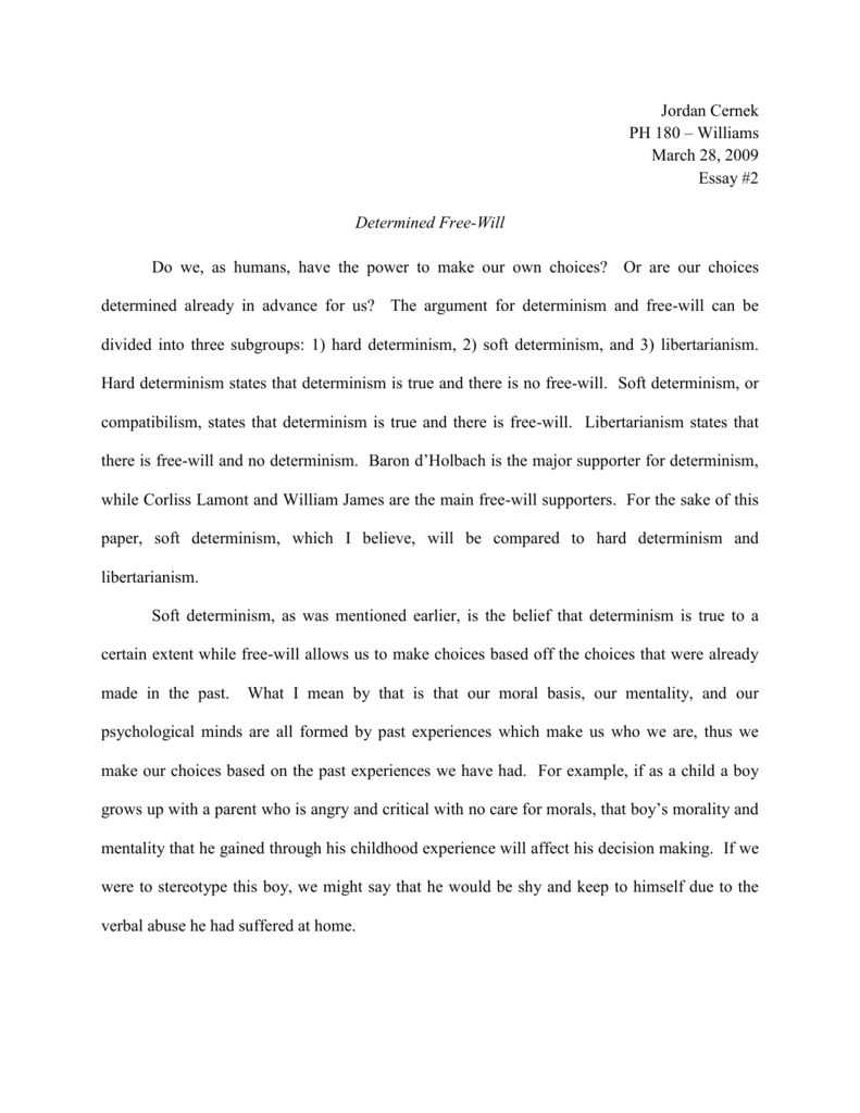 Essay For Students Of High School  Essay On Healthcare also Interview Essay Paper Determinism Versus Freewill English Sample Essay