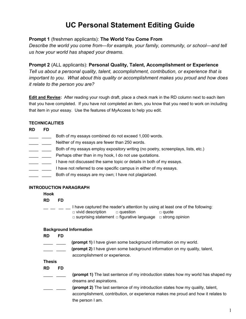 UC Personal Statement Editing Guide Prompt 1 Freshmen