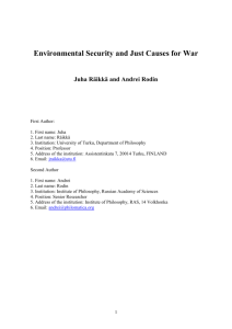 Environmental Security and Just Causes for War