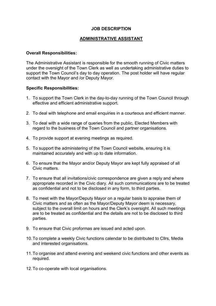 Job Description Administrative Assistant 3 Doc