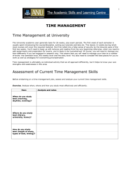 Time Management - Academic Skills & Learning Centre
