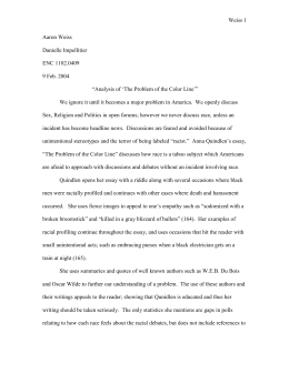 English Essays Book Analysis Of The Problem Of The Color Line Essay Paper Generator also English Essay Sample Doing Nothing Is Something By Anna Quindlen Answer The Essay On Health