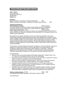 Sample Resume for Supply Chain Logistics person