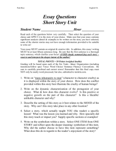 Essay Questions for Short Story Unit.doc