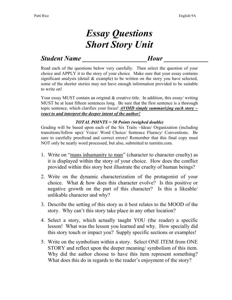 Essay Questions For Short Story Unitdoc