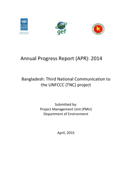 Annual Progress Report (APR): 2014 Bangladesh: Third National