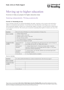 Structuring an essay - University of Reading