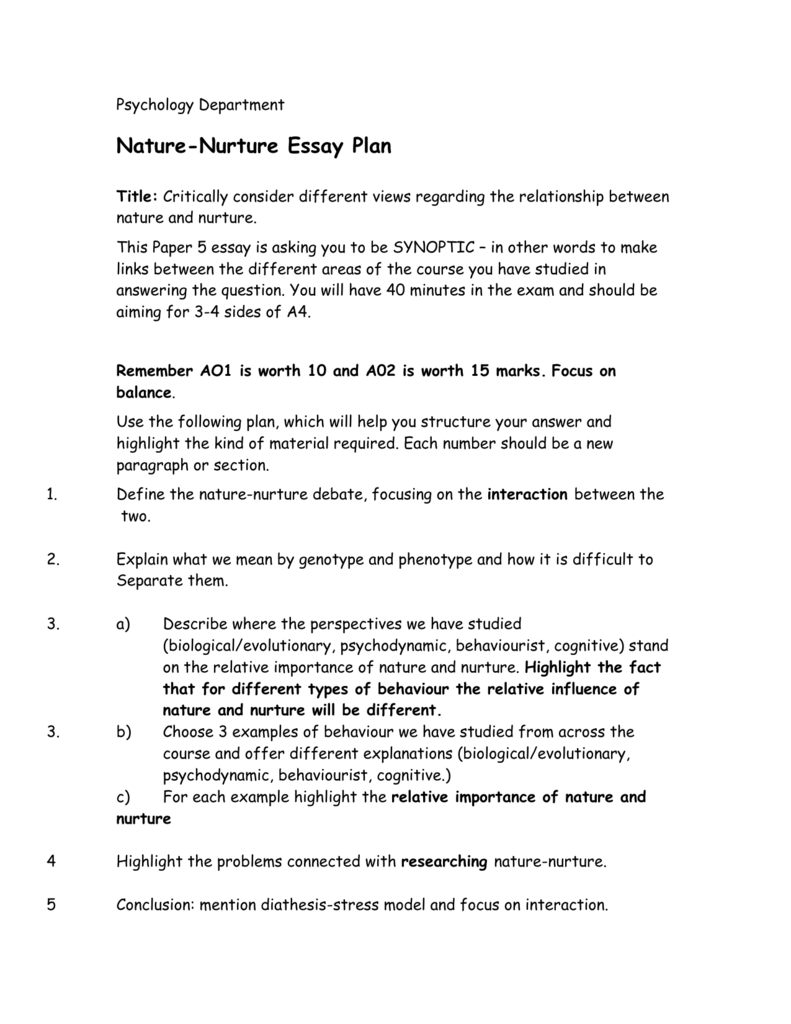 nature vs nurture essay plan Our genes/our choices video, genes on nature versus nurture this lesson plan is also correlated to state science standards through the pbs teachersource.