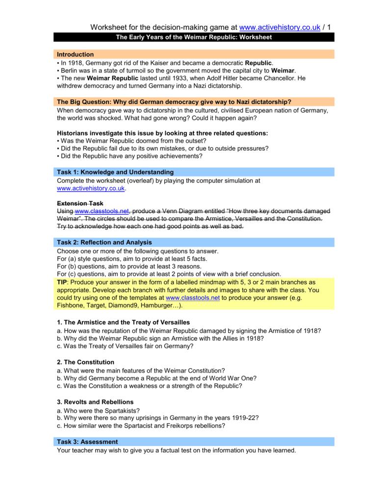 worksheet Treaty Of Versailles Worksheet worksheet