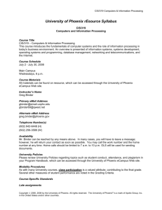 University of Phoenix rEsource Syllabus - West