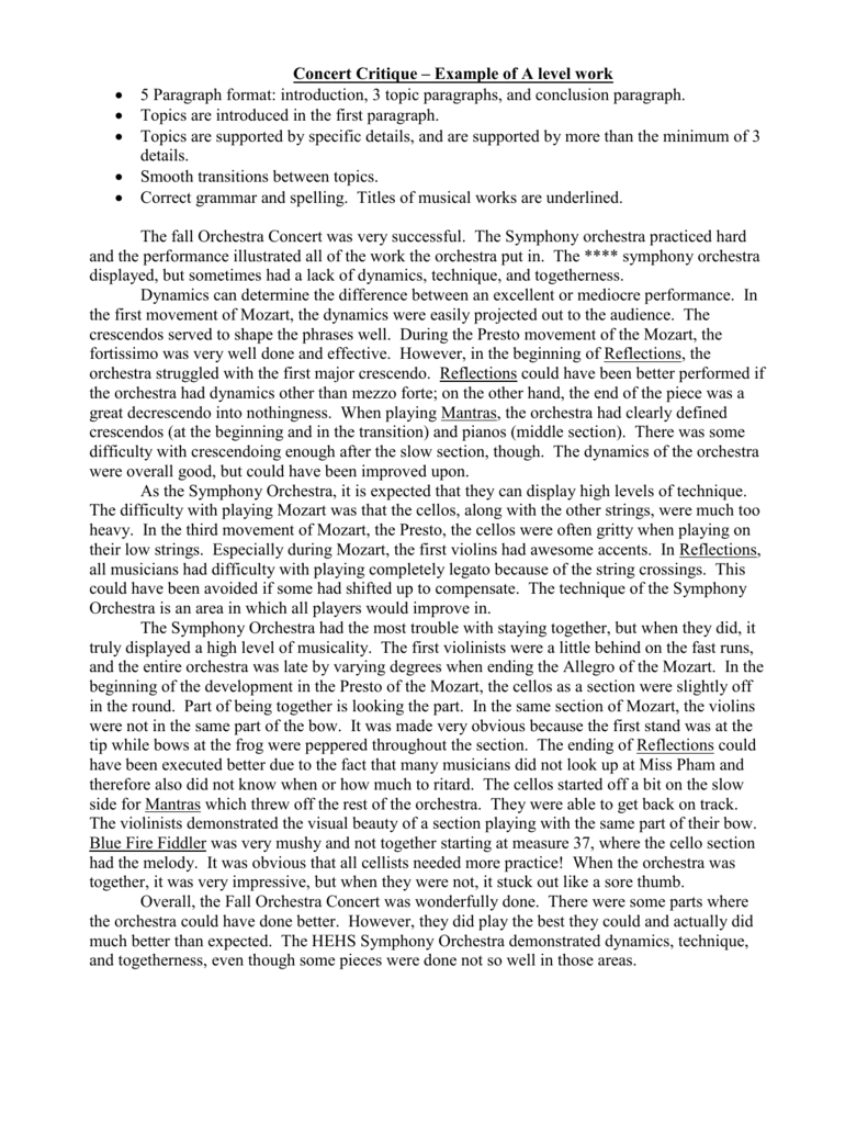 Example Of A Thesis Statement For An Essay  Thesis Statement For Descriptive Essay also Is A Research Paper An Essay Concert Critique  Example Of A Level Work Essay On English Teacher