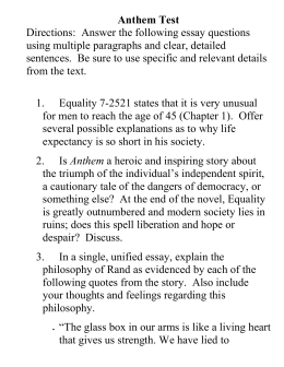 anthem exam review sheet equality 7 2521 states that it is ver