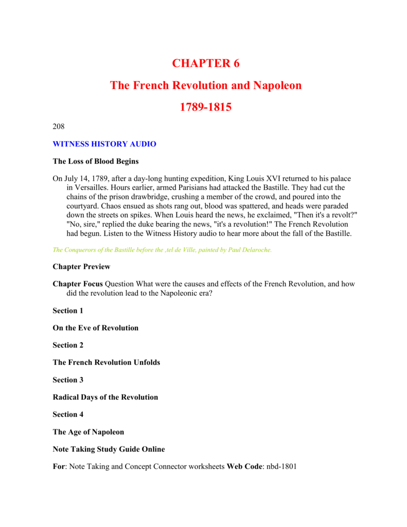 CHAPTER 6 The French Revolution and Napoleon 1789