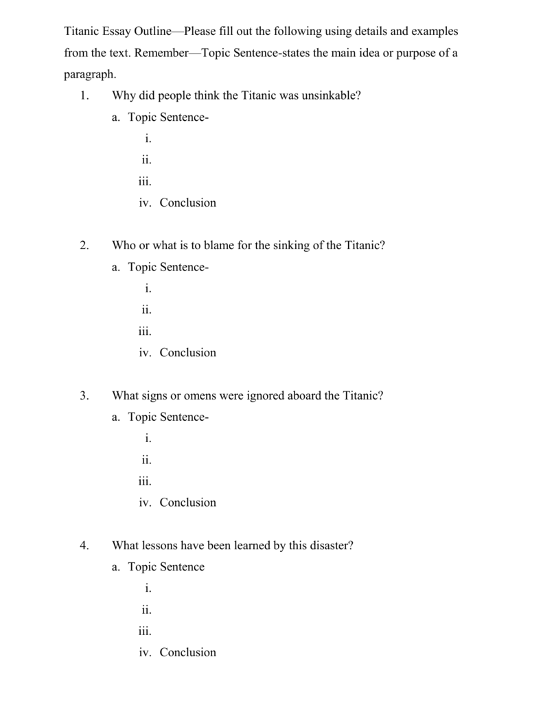 Shooting An Elephant Essay  Interesting Topics For Persuasive Essays also Research Persuasive Essay Topics Titanic Essay Outlineplease Fill Out The Following Using Details And Cultural Difference Essay