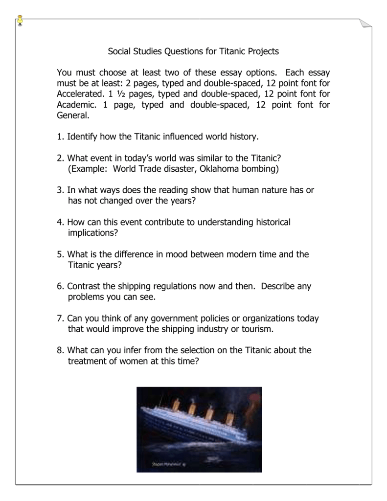 Social Studies Questions For Titanic Projects