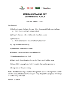 Scan Based Trading (SBT) DSD Receiving Policy - Winn
