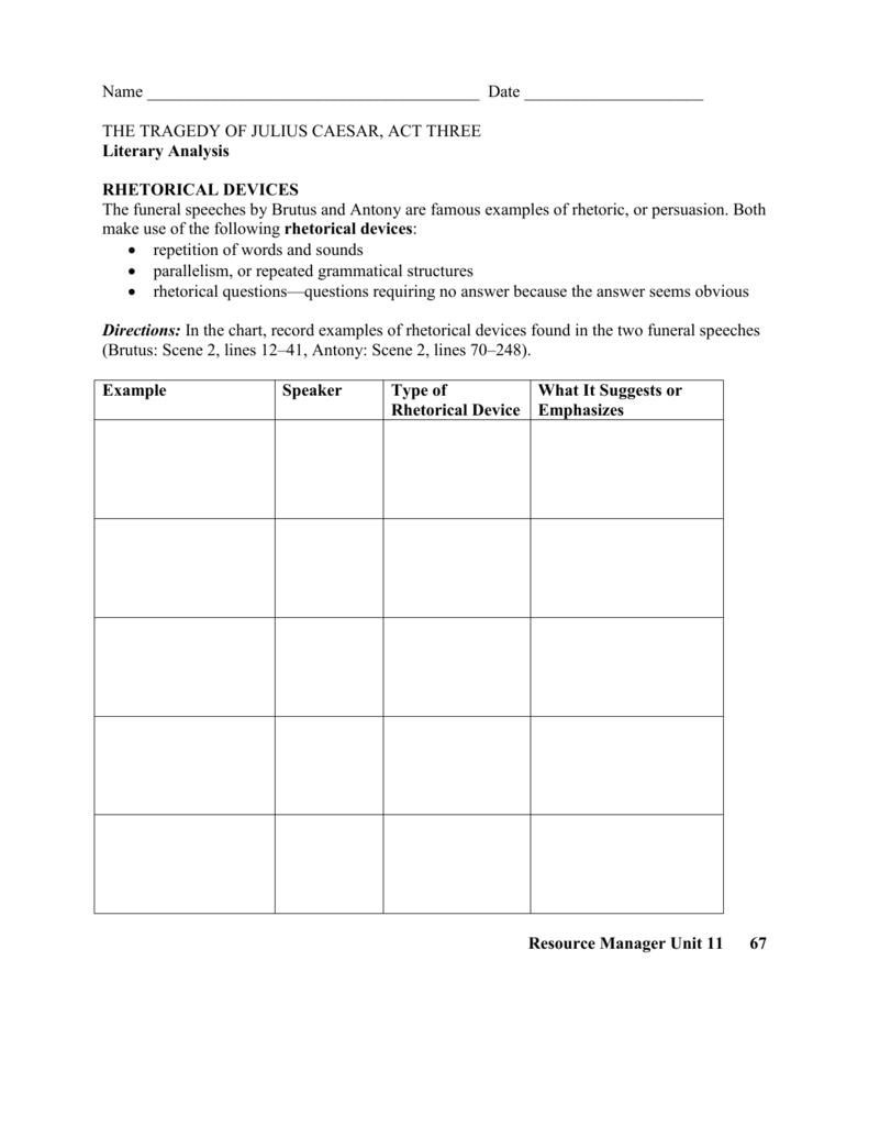 Act Three Rhetoric Worksheet